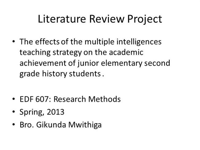 Literature review outline example apa - Advantages of Selecting ...