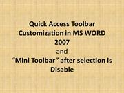 Customize Quick Access Toolbar in MS Word 2007