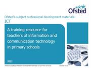 OFSTED ICT prof development materials for primary schools
