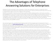 The Advantages of Telephone Answering Solutions for Enterprises