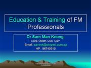 Education & Training for FM Professional