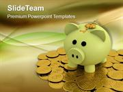 Piggy Bank On Dollar Coins Business PowerPoint Templates PPT Themes An