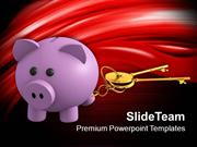 Piggy Bank With Golden Key Investment PowerPoint Templates PPT Themes