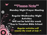 Weekly announcements June 23, 2013