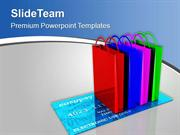Shopping Bags On Credit Card PowerPoint Templates PPT Themes And Graph