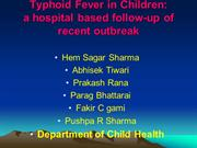 TYPHOID FEVER IN CHILDREN