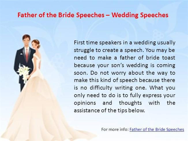 Father Of The Bride Speeches  Wedding Speeches Authorstream