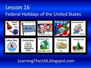 Lesson 16 Federal Holidays of the United States