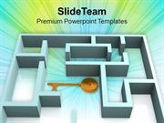 3d Rendered Labyrinth And The Key PowerPoint Templates PPT Themes And