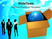 Business Team With Globe In Box PowerPoint Templates PPT Themes And Gr