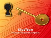 Golden Key And Keyhole Illustration PowerPoint Templates PPT Themes An