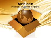 International Shipping Golden Globe In Box PowerPoint Templates PPT Th