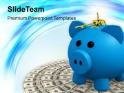Locked Piggy Bank With Money PowerPoint Templates PPT Themes And Graph