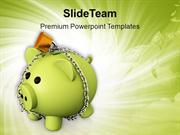 Piggy Bank With Chain Lock Safety Concept PowerPoint Templates PPT The