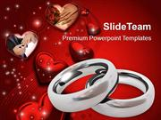 Platinum Wedding Rings With Hearts PowerPoint Templates PPT Themes And