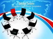 Red Chair Among Black Chairs Leadership Concept PowerPoint Templates P