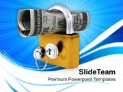 Roll Of American Dollars In Padlock PowerPoint Templates PPT Themes An