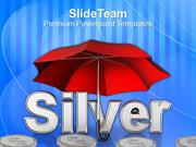 Silver Coins Under Umbrella PowerPoint Templates PPT Themes And Graphi