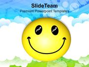 Smiley Face Over Cloudy Background PowerPoint Templates PPT Themes And