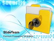Yellow Folder With Locked With Key PowerPoint Templates PPT Themes And