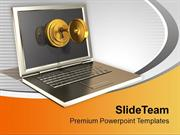 Laptop Locked With Golden Key PowerPoint Templates PPT Themes And Grap