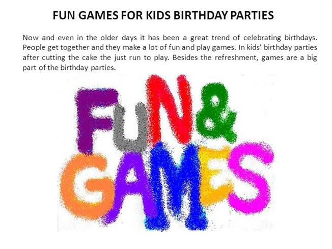 fun games for kids birthday parties authorstream