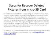 Steps for Recover Deleted Pictures from micro SD Card
