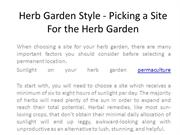 Herb Garden Style - Picking a Site For the Herb Garden