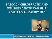 Babcock Chiropractic and Wellness Center can help you Lead a Healthy