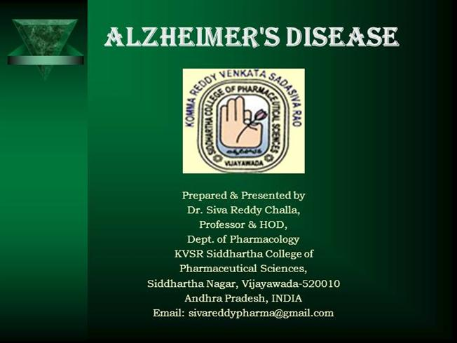 alzheimers ppt an overview authorstream