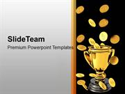 Falling Gold Coins In Trophy Winner PowerPoint Templates PPT Themes An