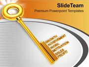 Golden Key With Words Achievement PowerPoint Templates PPT Themes And
