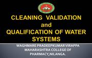 cleaning validation & water system- P.V.Waghmare