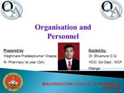 organisation and personnel -pradeep