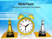 Clock And Chess Pieces Business Activity Strategy PowerPoint Templates