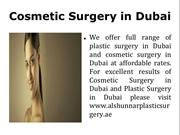 Cosmetic Surgery in Dubai, Plastic Surgery in Dubai.
