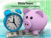 Money Accumulation Concept And Alarm Clock PowerPoint Templates PPT Th