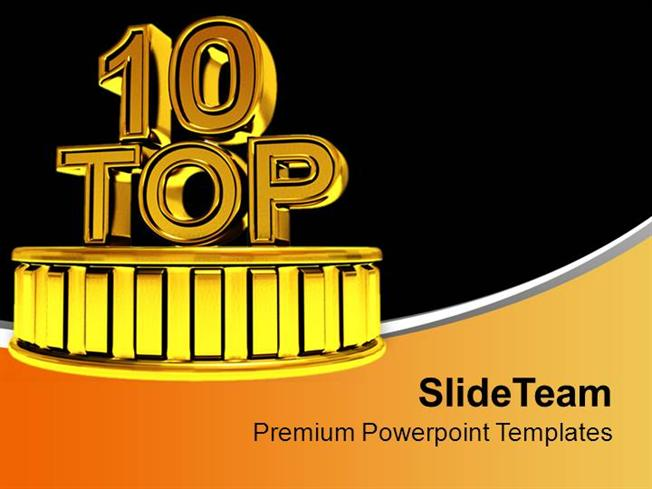 top 10 golden podium winners time powerpoint templates ppt themes, Presentation templates