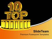 Top 10 Golden Podium Winners Time PowerPoint Templates PPT Themes And