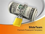 US Dollars Chained And Locked Security PowerPoint Templates PPT Themes