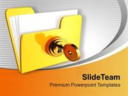 Yellow Computer Folder With Golden Key PowerPoint Templates PPT Backgr