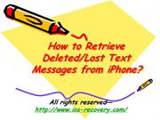 How to Retrieve Deleted Lost Text Messages from iPhone