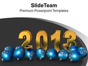 New Year 2013 With Christmas Balls PowerPoint Templates PPT Themes And