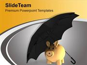 Piggy With Umbrella Save Money PowerPoint Templates PPT Themes And Gra
