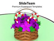 Basket With Candy Bars Christmas Theme PowerPoint Templates PPT Themes
