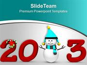 Snowman With New Year Theme PowerPoint Templates PPT Themes And Graphi