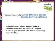 ZERO  EMISSION SEWAGE  FUELLED POWER GENERATOR