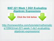 MAT 221 Week 1 DQ1 Evaluating Algebraic Expressions
