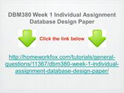 DBM380 Week 1 Individual Assignment Database Design Paper