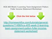 HCS 405 Week 2 Learning Team Assignment Patton-Fuller Income Statement